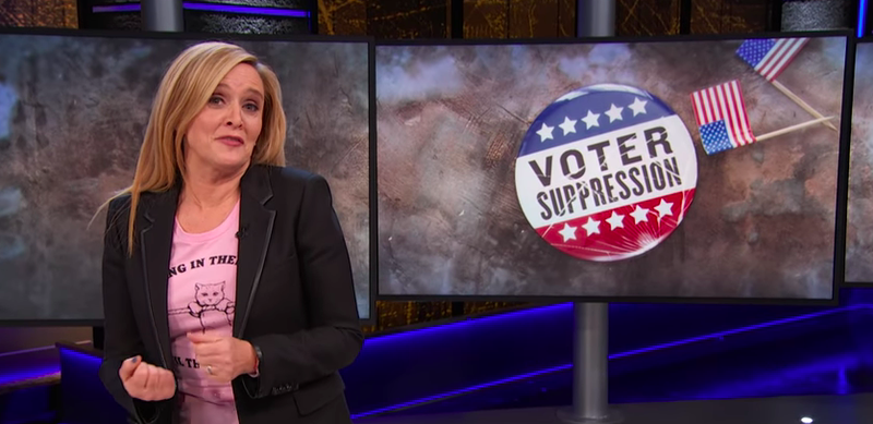 "Illustration for article titled Sam Bee asks ""How the fuck is this legal?"" about the GOP's voter suppression fuckery"