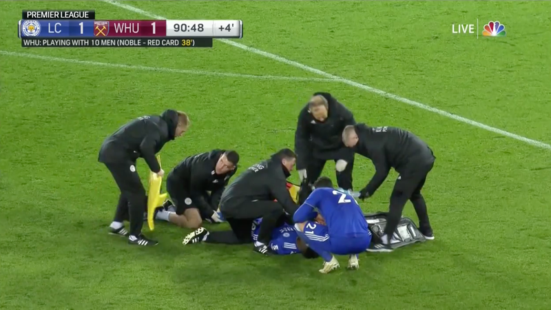 Illustration for article titled Leicester City's Daniel Amartey Stretchered Off After Horrific Leg Injury [WARNING: GRAPHIC]