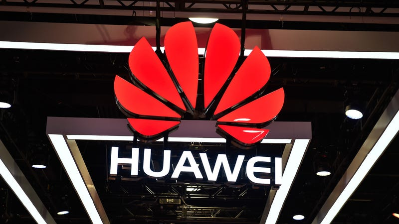 A Huawei logo at CES 2018 in Las Vegas.