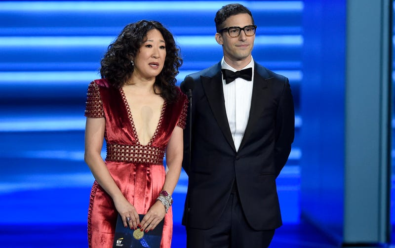 Illustration for article titled Your 2019 Golden Globe Awards Hosts Are Sandra Oh and Andy Samberg