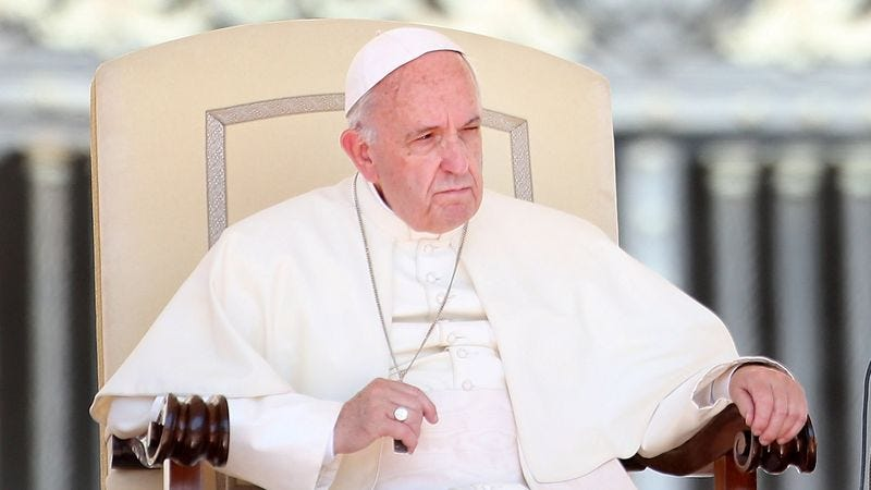 Pope Francis scowling.