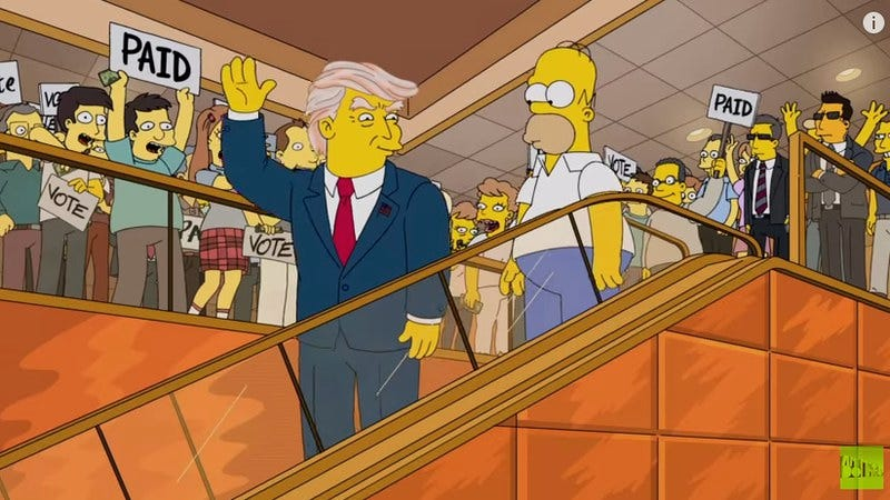 "Illustration for article titled Homer Simpson weighs in on Donald Trump's ""ginger forest"""