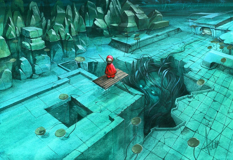 Illustration for article titled Concept Art Writing Prompt: Rafting Through Strange Waters