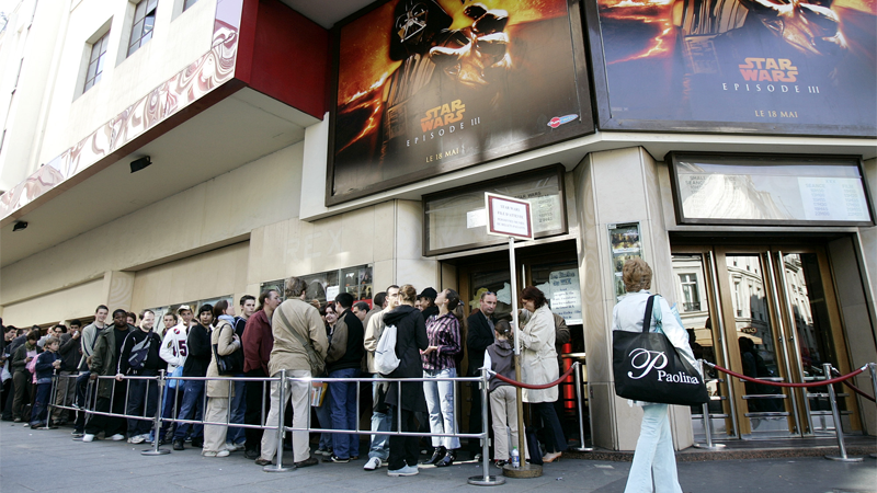 Parisian Star Wars fans queue up on opening day to see Revenge of the Sith. Image Credit: AP Photo/Francois Mori