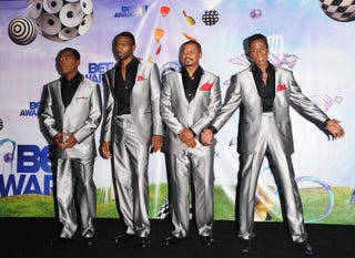 Actors Tico Wells, Leon, Robert Townsend and Michael Wright pose in the press room at the BET Awards held at the Shrine Auditorium on June 26, 2011, in Los Angeles. (Jason Merritt/Getty Images)