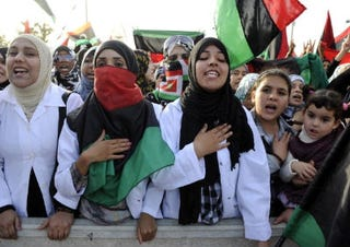 Libyans celebrate liberation. (Getty Images)