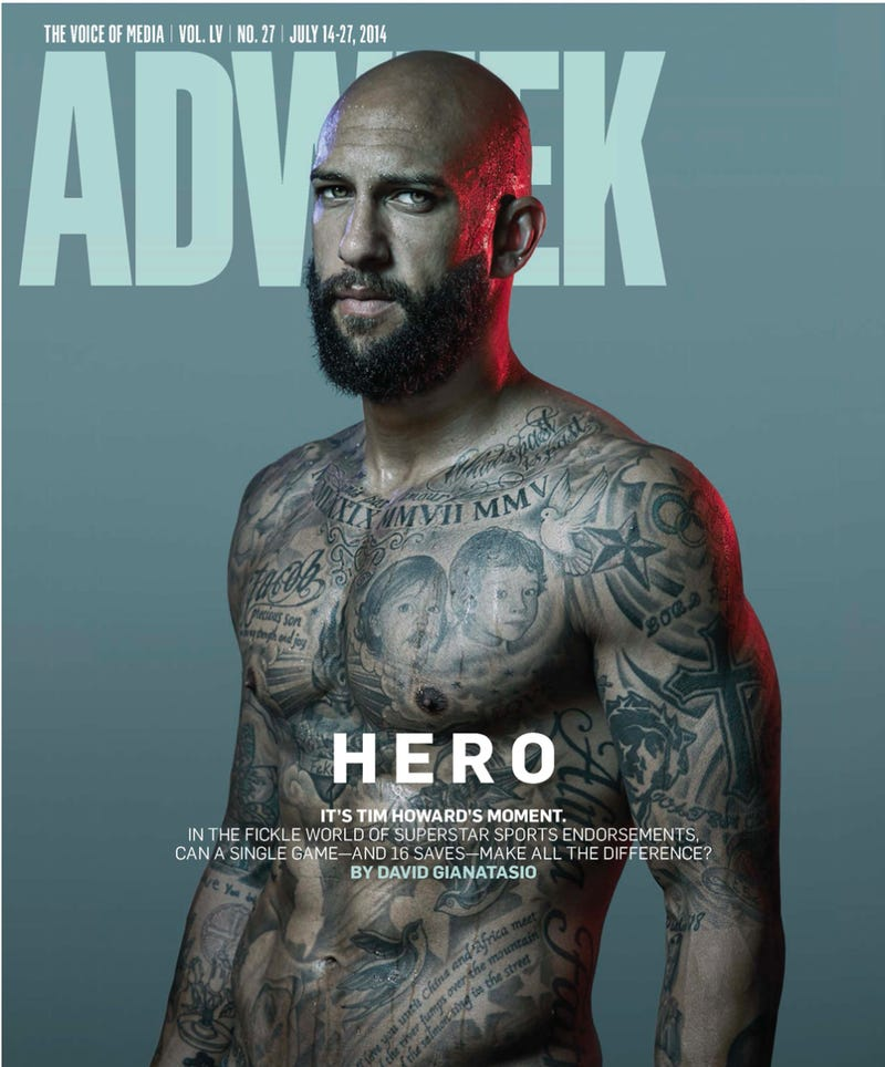 Illustration for article titled Your World Cup Boyfriend Tim Howard Smolders on the Cover of AdWeek