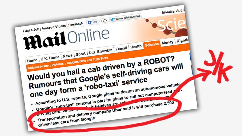 Illustration for article titled Daily Mail Duped By Fake Article About Google Selling Driverless Cars