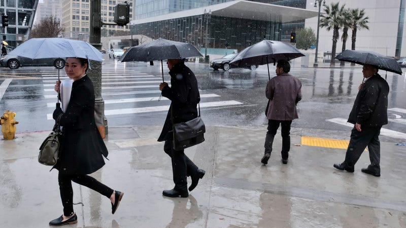 Rain falls in downtown LA on March 21 when an atmospheric river struck the region
