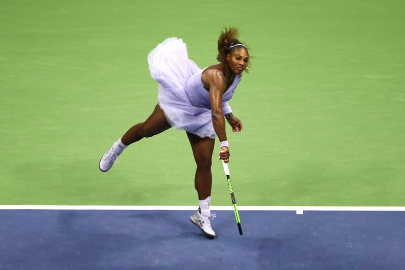 Such Grace! Serena Williams of the United States serves the ball during her women's singles semi-final match against Anastasija Sevastova of Latvia on Day 11 of the 2018 US Open at the USTA Billie Jean King National Tennis Center on Sept. 6, 2018, in Queens, N.Y.