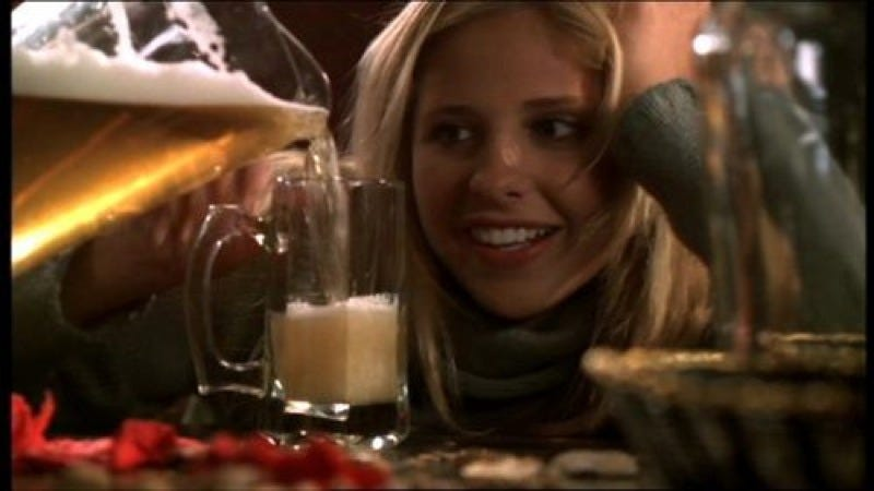 Foamy! Scientists say they figured out why foam dampens the sloshing in that pint of beer. (Image: Buffy the Vampire Slayer, 1999)