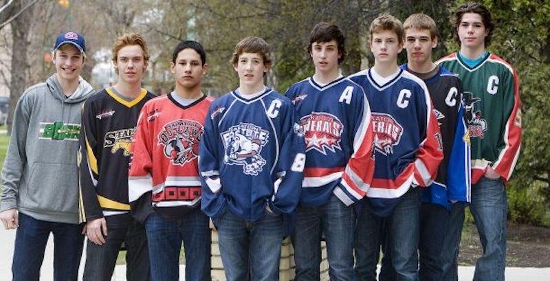 Pictured: the Saskatoon Minor Hockey Association class of 2012. L-R: Tate, Wyatt, Cameron, Connor, Dustin, Lane, Brad, and Kody.