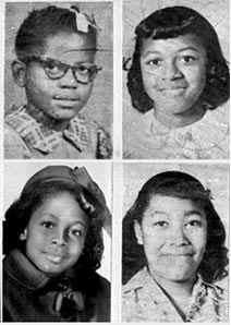 The four girls killed in the 16th Street Baptist Church bombing in Birmingham, Ala., on Sept. 15, 1963 (clockwise from top left): Addie Mae Collins, Cynthia Wesley, Carole Robertson and Carol Denise McNairWikimedia Commons