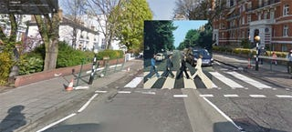 Illustration for article titled Iconic album covers merged with their real locations in Google maps