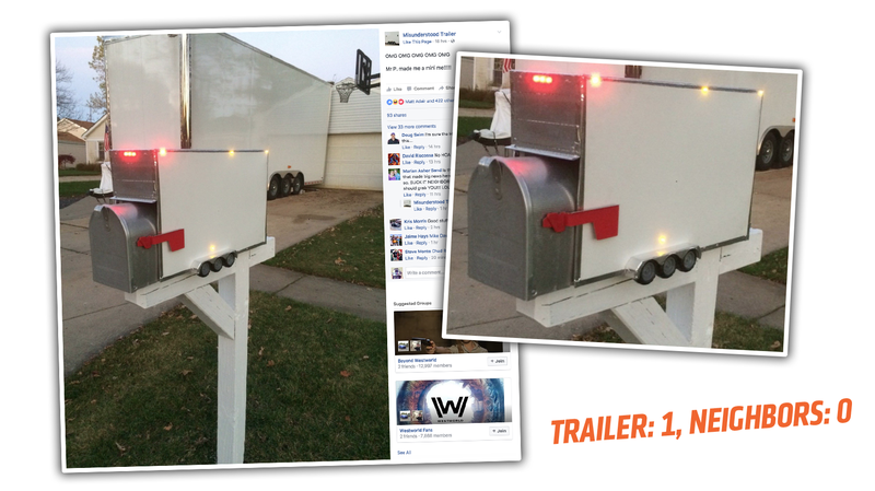 Illustration for article titled Guy With Trailer Driving Neighbors Crazy Turns Mailbox Into Ultimate Trolling Machine
