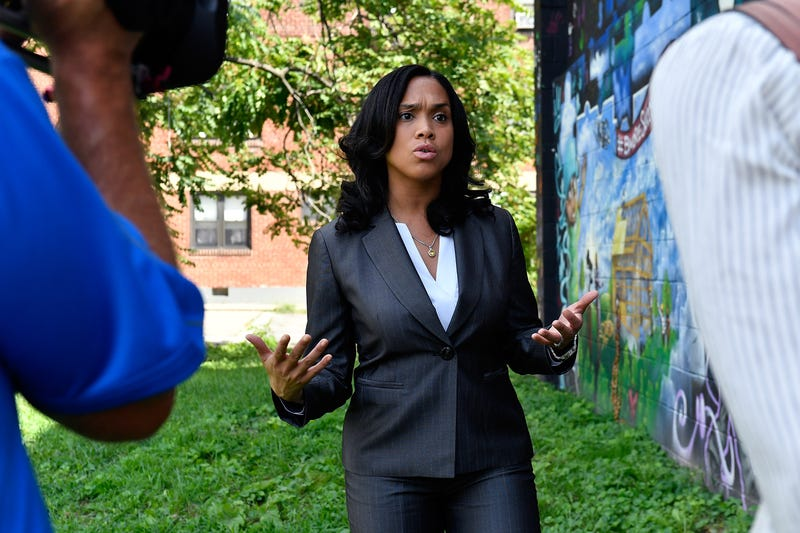 Baltimore City State's Attorney Marilyn J. Mosby during a TV news interview Aug. 24, 2016, in Baltimore's Sandtown-Winchester neighborhood, where Freddie Gray was arrested (Larry French/Getty Images for BET Networks)
