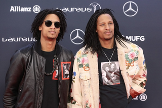 French dancers Laurent (L) and Larry Nicolas Bourgeois aka 'Les Twins' pose on the red carpet before the 2018 Laureus World Sports Awards ceremony at the Sporting Monte-Carlo complex in Monaco on February 27, 2018.