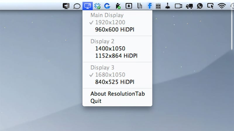 Illustration for article titled ResolutionTab Switches You to HiDPI Mode on Your Non-Retina Mac