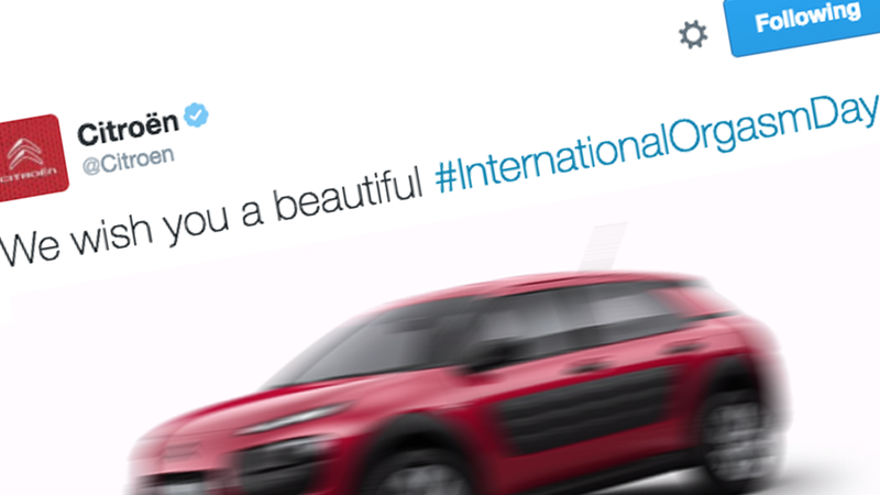 Illustration for article titled Citroën Tweets That It Hopes You Have A Great Orgasm Today
