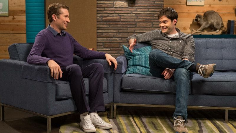 "Illustration for article titled Comedy Bang! Bang!: ""Bill Hader Wears A Grey Button Down Shirt And Sneakers"""