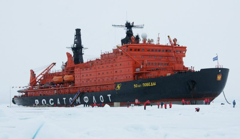 Russia's NS 50 Let Pobedy icebreaker, the largest until the new Arktika was launched in 2016. Photo credit Wikimedia Commons