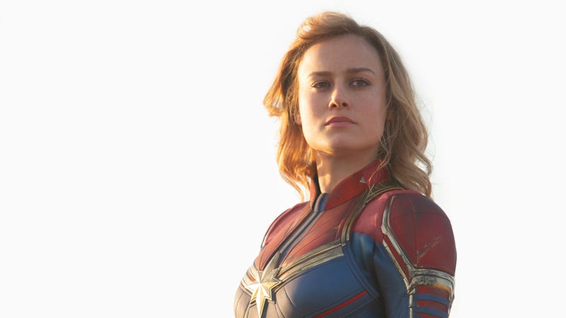 Brie Larson as Captain Marvel, in an outfit inspired by Kelly Sue DeConnick's series.