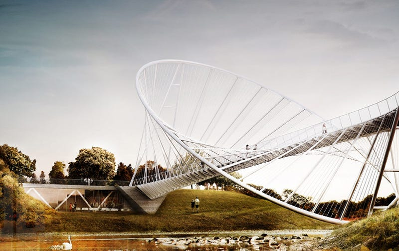 Illustration for article titled This Hooped Bridge is High-Tension Math