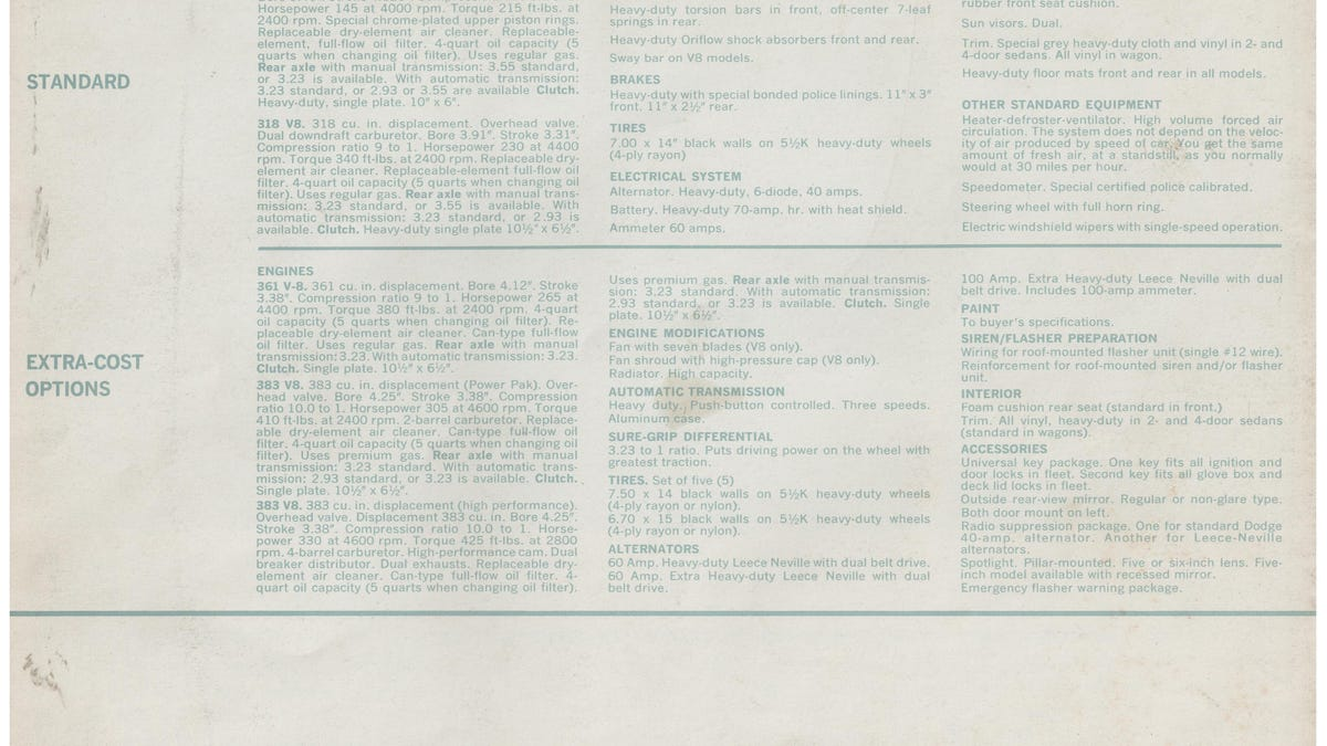 Vintage Ads The Dependables 1963 Dodge Police Pursuit Brochure Leece Neville Pad Mount Alternator Wiring Diagram