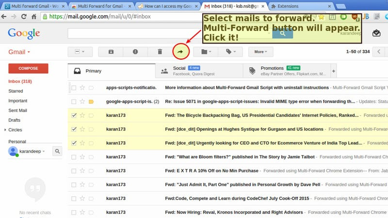 Multi Forward for Gmail Forwards Emails in Bulk