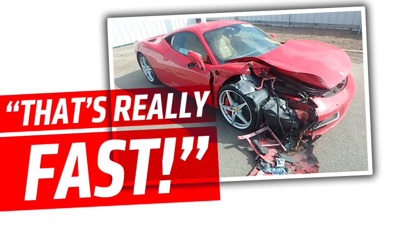 Illustration for article titled Guy Rents Ferrari 458 Italia, Wrecks It While His Passenger Screams At Him