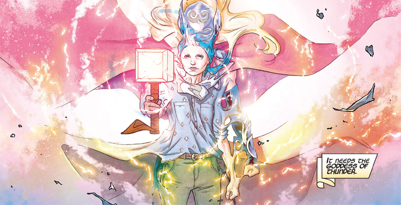 Jane Foster transforms into Thor in Mighty Thor #8.