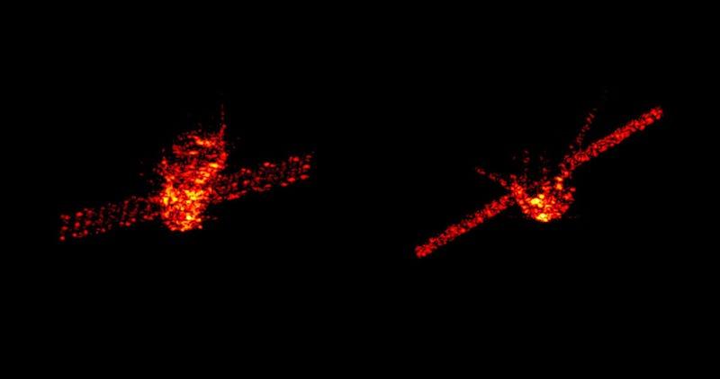 Imágenes compuestas de radar de la Tiangong poco antes de entrar en la atmósfera.