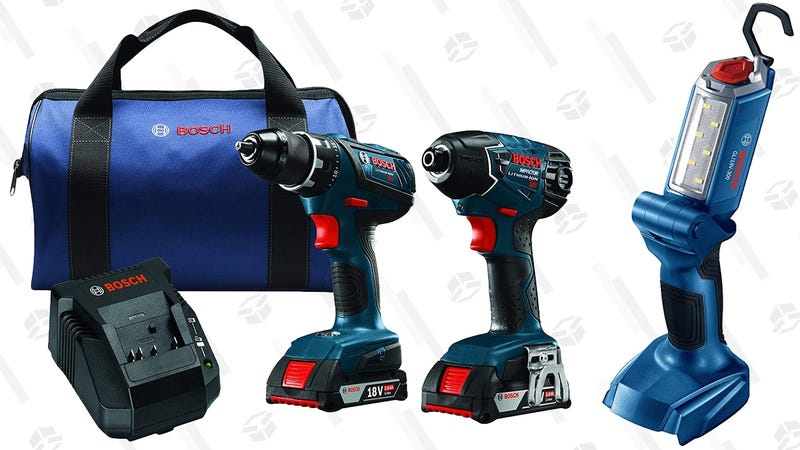Bosch 18V Drill/Driver and Impact Driver Combo Kit + Work Light | $166 | Amazon