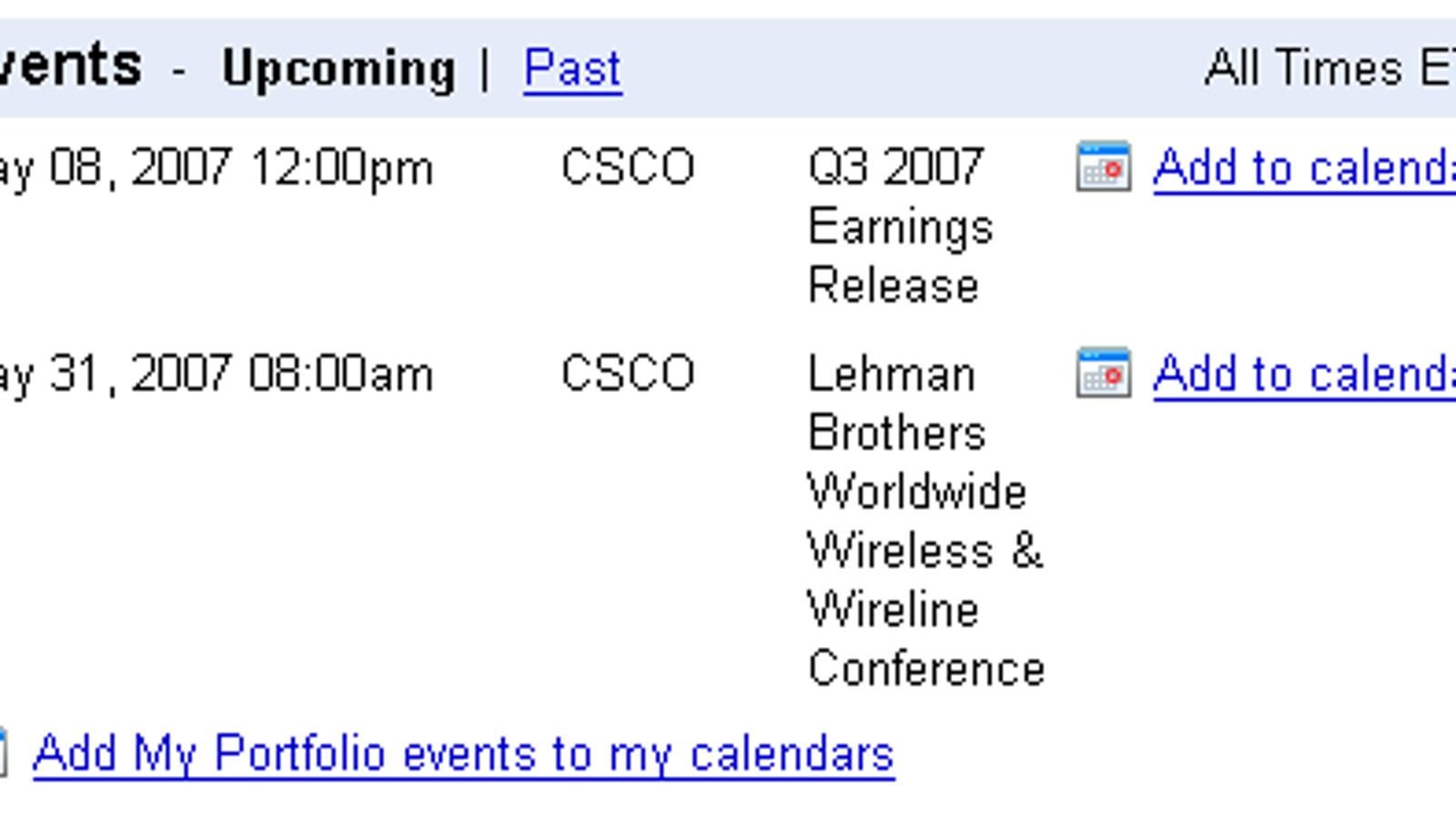 Add Google Finance events to Google Calendar