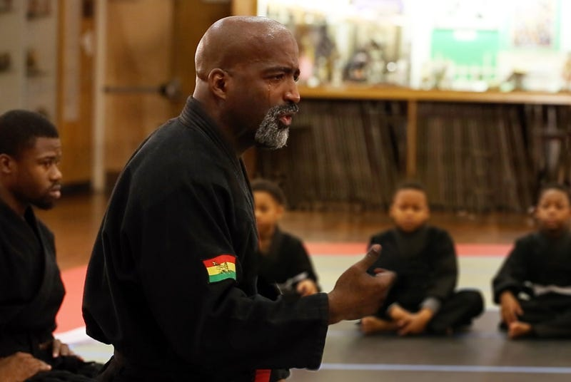 Jason Wilson, CEO of the Cave of Adullam Transformational Training Academy in Detroit, shares a lesson with students. (Courtesy of the Cave of Adullam Transformational Academy)