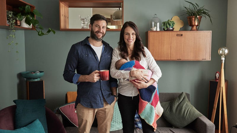 Prime Minister Jacinda Ardern, her partner Clarke Gayford, and their baby at home.