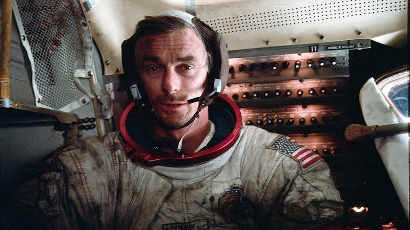 Gene Cernan photographed in the Apollo Lunar Module on the lunar surface. Photo: Wikipedia