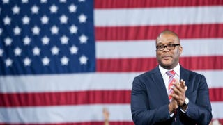 Actor and director Tyler Perry introduces President Barack Obama during a campaign event at Tyler Perry Studios March 16, 2012, in Atlanta.BRENDAN SMIALOWSKI/AFP/Getty Images