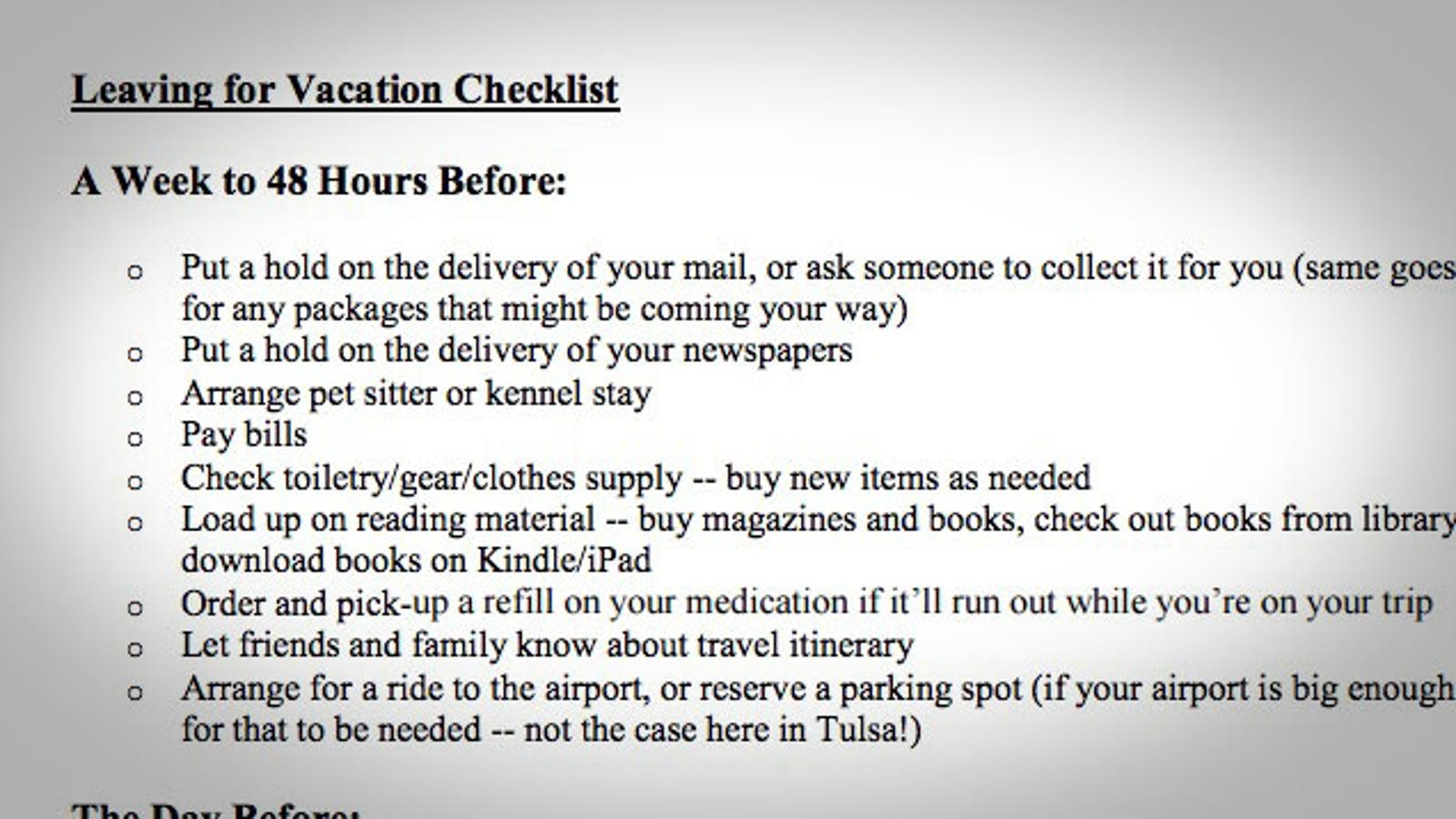 prep for your next vacation with this checklist