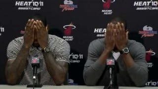 Illustration for article titled Wade And LeBron Pretend They're Invisible After Another Crushing Loss