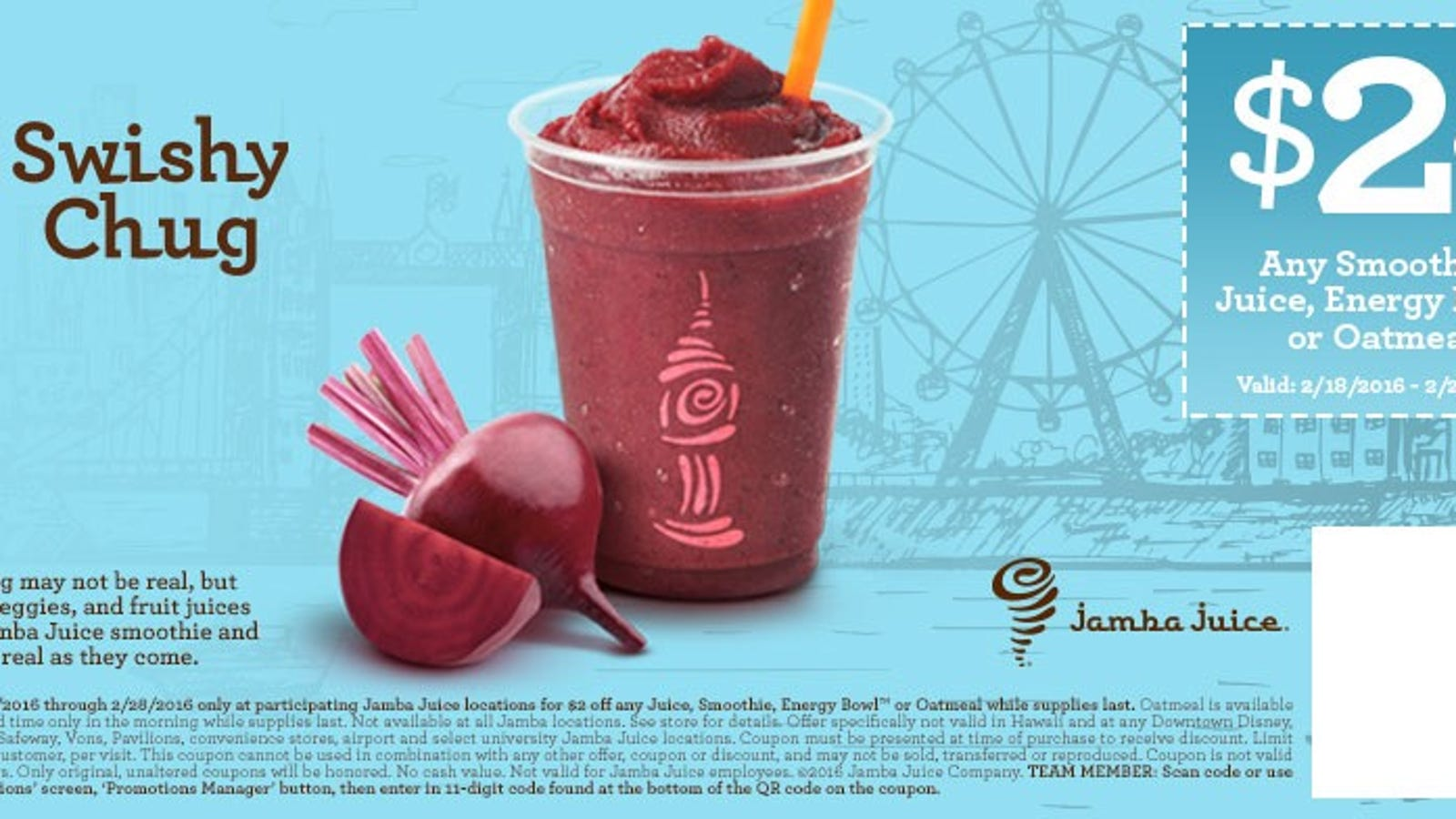 image regarding Jamba Juice Printable Coupon named Conserve $2 Upon Your Up coming Jamba Juice Acquire With This Printable