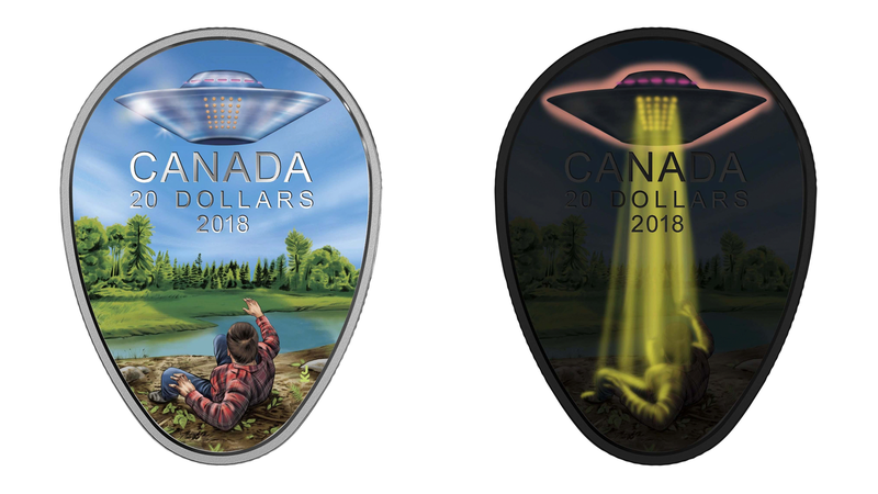 Illustration for article titled 1967 UFO Encounter Immortalized as Trippy-Ass, Glow-in-the-Dark Coin by Canadian Mint
