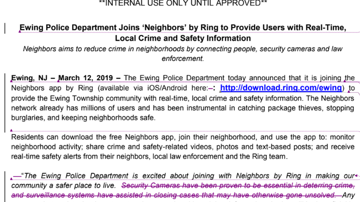 Amazon's Ring Barred Cops From Using 'Surveillance' to
