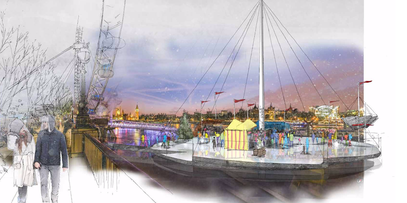 Illustration for article titled Natural Ice Rinks Would Turn London's Thames Into a Winter Wonderland
