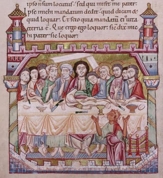 Liutoldus of Mondsee, the Last Supper, from an Evangeliary, second half of the 12th century. Illuminated manuscript, 290 by 200 cm.Österreichische Nationalbibliothek, Vienna