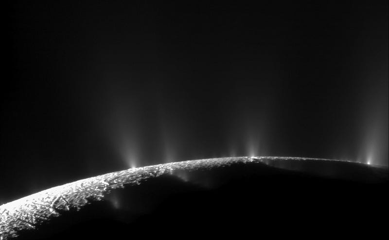 Illustration for article titled Over 100 Geysers On Enceladus May Be Spouting Water Onto Its Surface