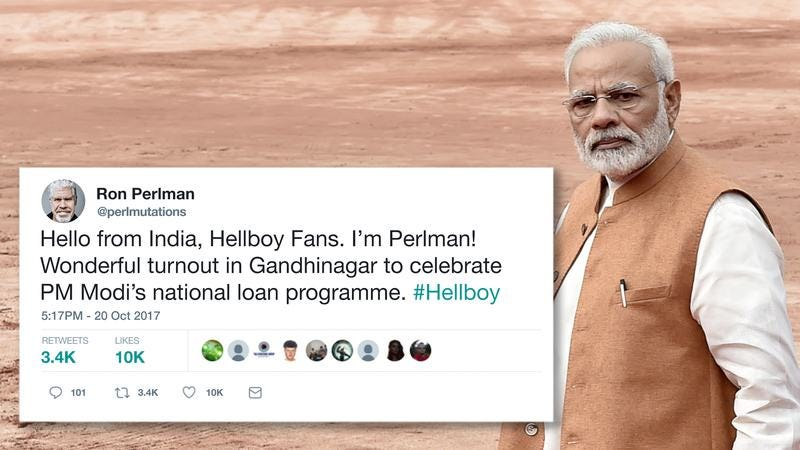 The Indian Prime Minister and a tweet from Ron Perlman.