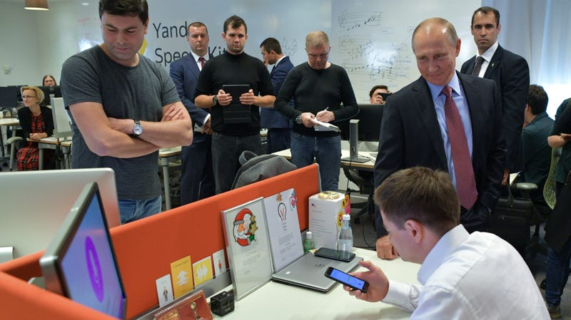Russian President Vladmir Putin visiting the headquarters of Yandex in September 2018.