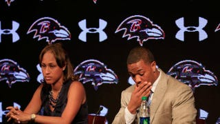 On May 23, 2014, running back Ray Rice, then of the Baltimore Ravens, pauses while addressing a news conference with his wife, Janay, at the Ravens training center in Owings Mills, Md.Rob Carr/Getty Images