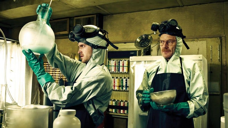 Aaron Paul and Bryan Cranston man up and make some meth in Breaking Bad.